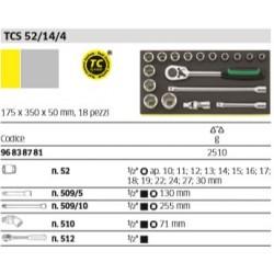 """Utensili ½"""" in termoformato TCS - TCS 52/14/4 - Peso g 2510"""