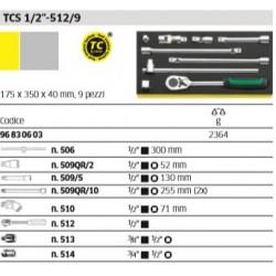 """Utensili ½"""" in termoformato TCS - TCS ½""""-512/9 - Peso g 2364"""