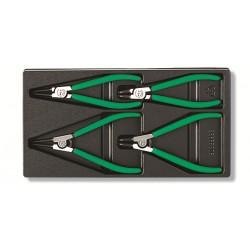 Set 4 pinze per anelli elastici Seeger interni ed esterni