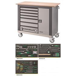 Banco da lavoro mobile a 7 cassetti WB 620 con 132 utensili