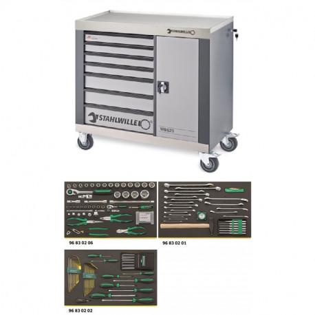 Banco da lavoro mobile a 7 cassetti WB 620 VA con 132 utensili premium